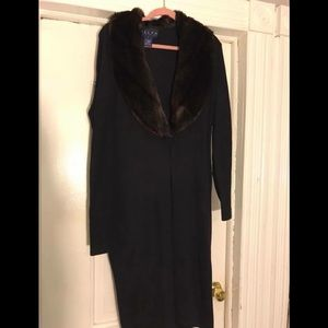 Jackets & Blazers - Ralph Lauren Black coat with faux fur ! Size lg